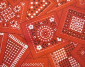 1970's Bandana Fabric, Red, Bandana, Novelty, Print, Fabric, 1970's, 1960's, Quilters Weight, Cotton, Hippy, Camp, Juvenile, Hippie
