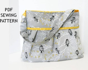 Diaper Bag Pattern Sewing PDF 5 Pockets Messenger Adjustable Strap Pleated Medium Purse