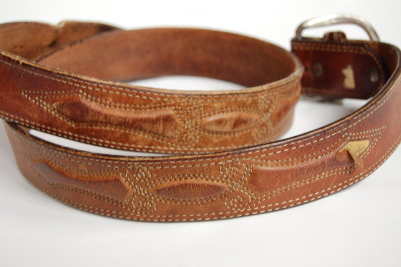 mens shabby leather belt vintage leather belt size 40 mens