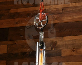 Recycled Bottle Lamp - Chrome Pulley