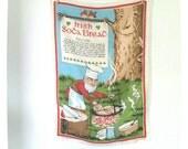 Irish soda bread recipe vintage souvenir tea towel - kitchen linen w/ leprechaun fairies
