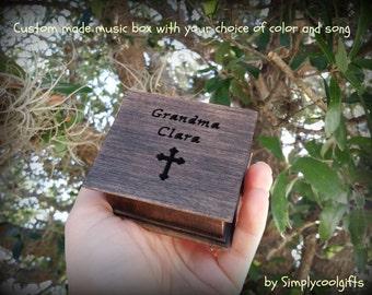 music box, wooden music box, custom made music box, gift for grandma, grandmother of the bride gift, religious gift, for grammy, for granny