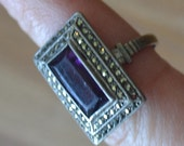 Beautiful antique sterling silver and amethyst paste cocktail ring with marcasites / flapper ring