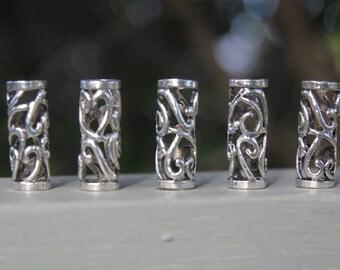 5 Tibetan Silver Hollow 8mm Hole (5/16 Inch)