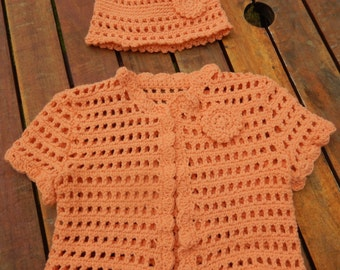 SALE crochet baby girl short sleeve cardigan,crochet baby girl sweater and hat orange 0-6 month