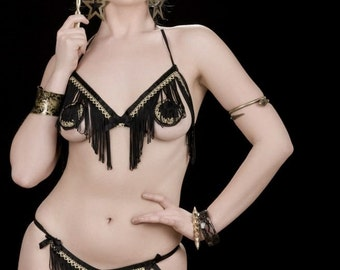 Less Is More 3-piece set; Black fringed open bra with metallic gold trim has matching fringed thong and pasties