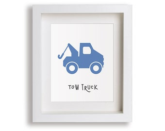 NEW Tow Truck Nursery Art Print - Baby Boy Bedroom, Emergency Trucks, Children's Decor, Baby Nursery, Kids Wall Art, Playroom, Toddler Room