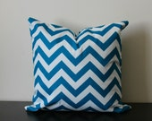 Decorative Throw Pillow Cover -16x16, 18x18 - One Aquarius Chevron Print - Toss Pillow - Accent Pillow