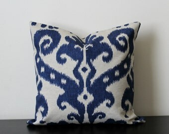 Decorative Throw Pillow Cover, Ikat Pillow Cover,Blue Pillow Cover ,Toss Pillow, Accent Pillow,18x18, 20x20,Sofa Pillow Cover,Bedroom Pillow