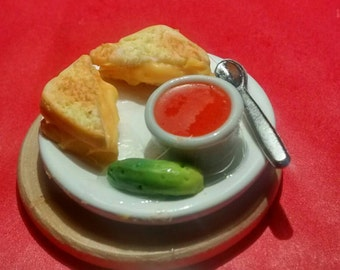 Miniature grilled cheese and tomato soup