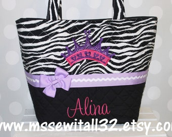 XL Quilted Zebra Print / Princess Crown Applique Diaper Bag
