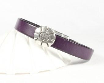 Purple leather bracelet, Silver flower slider, Magnetic clasp, CarolMade L61