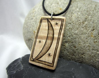 Crescent Moon Necklace, Wood Pendant Crescent Moon Pendant with Leather Cord, Moon Jewelry