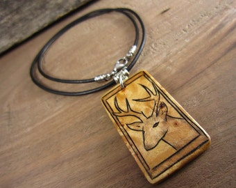Wood Deer Necklace, Mens Hunting Jewelry, Handcrafted Jewelry For Men, Pendant With Leather Necklace