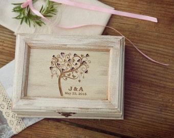 Personalized Rustic Ring Bearer Pillow Box Alternative Wedding Keepsake Box Jewelry Box Rustic Wedding Ring Holder