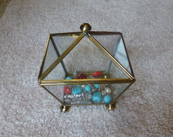 Vintage Glass and Brass Jewelry Box in Pentagon Shape *Glass Display Box  *Jewelry Box  *Glass Nick Nack Box *Glass Ring Box