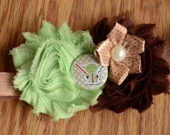 Yoda Headband - May the 4th Be With You - Baby Girl Headband - Hair Accessory - Newborn Headband - Shabby Chic Headband