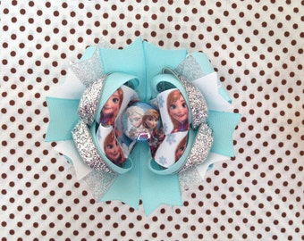 Ready To Ship Hairbow! Frozen Hairbow, Elsa Hairbow, Anna Hairbow, Princess Hairbow, Glitter Boutique Hairbow, Girls Hairbow