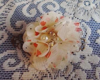 French Style Barrette - Flower Filigree Barrette - Feminine Barrette - Chiffon Flower Barrette - Pearl & Rhinestone Flower Barrette