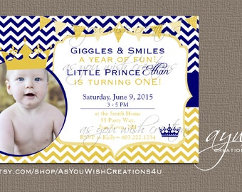 Prince Birthday Party Invitation Printable - Prince Crown Chevron First Birthday Invite - Navy Blue Gold - Birthday Prince Boy - Crown Photo