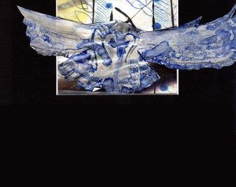 Owl in Blue/Blue Forest -- Original Owl décor, mixed media owl wall art, animal art, owl home décor OA10