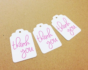 """Thank You Tags - White + Hot Pink - Hang Tags, Gift Tags - 2.25"""" x 1.5"""" - Wedding, Bridal Shower, Baby Shower, Bachelorette, Favor Tags"""