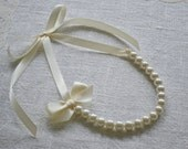 Nora {Little Girl}: Beautiful Ivory Pearl with Ivory Ribbon Necklace with Bow