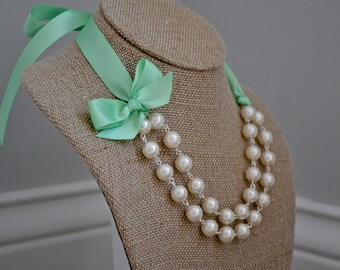Abigail: Double / Two Strand Linked Pearl Necklace - Ivory Pearls with Spring Green {Mint} Ribbon & Bow