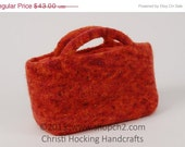 Christmas in July SALE Felted Purse, Hand-knit Purse, Beaded Purse, Orange Purse