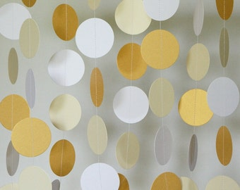 Gold Wedding Decoration, Gold - Cream - White Garland, Bridal Shower Decor, Paper Circle Garland, 10 feet long