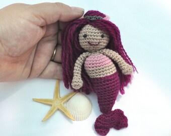 Miniature Mermaid doll in pink