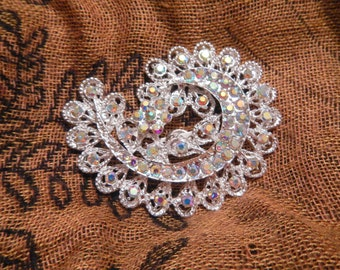 Silver Paisley Magnetic Brooch Acrylic Rhinestone Sash Pin Pageant