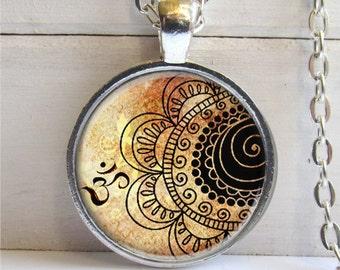 Om Necklace, Henna Design Pendant, Yogo Jewelry, Om Pendant