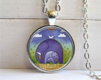 Elephant Pendant, Whimsical Elephant Necklace, Art Pendant, Elephant Jewelry