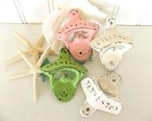 Bottle Opener cast iron wall mount distressed Pink Green White Beach nautical decor bar ware shabby beach cottage rustic choose colors