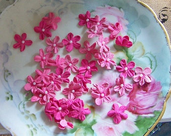 Pink Paper Flower Sets, Embellishments, Pink Paper Blooms, Paper Craft Flowers, Scrapbook Flowers, Pearl Center Flowers, Romantic Flowers