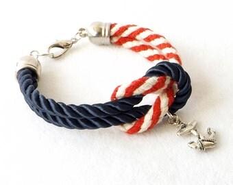 Nautical Rope Bracelet, Red White Blue Bracelet, 4th of July Bracelet, Cuff Bracelet, Patriotic Cuff, Stacking, Sailor Cuff, Summer, Gift