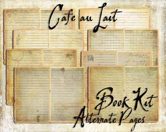 Digital Paper Pack Cafe au Lait Book Kit Add ons Alternate pages downloadable printable mini
