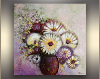 """20"""" Oil Painting Flowers Oil painting ORIGINAL Abstract Flower Painting Purple Art Painting Still Life Painting Oil Painting Gift for Mom"""