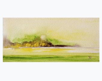"""8""""X4"""" Art Original Watercolor painting Landscape Painting by Tatjana Ruzin - green painting landscape painting Watercolor art Original Art"""