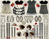 4 Vintage Fabulous PAPER DOLLS - Instant Printable Digital Sheet
