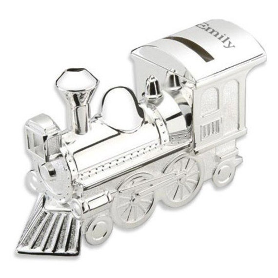 Engraved silver toy train coin bank for baby - Engraved silver piggy bank ...