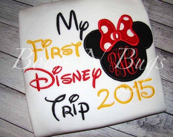 My First Disney Trip Mickey or Minnie Mouse Ears Applique Shirt With FREE Monogram - Perfect for Disney