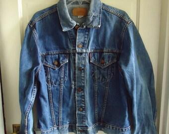 Vintage 1960s LEVIS BIG E Single Stitch Denim Jean Jacket sz M/L