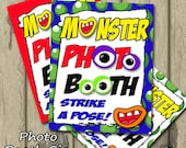Monster Photo Booth Sign Eyes and mouth Blue, Instant Download, Props, Printable, 8x10 - PERSONAL USE ONLY