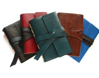 "Custom Leather Journal 4"" x 6"", blank leather book  -  Choose your colour of leather and thread"