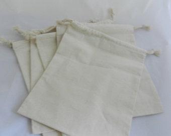 Cotton Drawstring Bag Muslin Bag 8 X 10 Set of 5 FREE SHIPPING