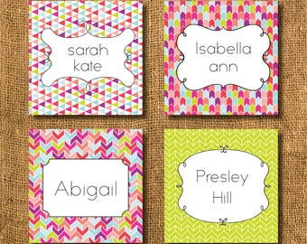 Girl Colorful Aztec Chevron Arrows Modern Enclosure Gift Tags or Calling Cards, Chevron Gift Tags, Family Gift Tags, Mommy Cards