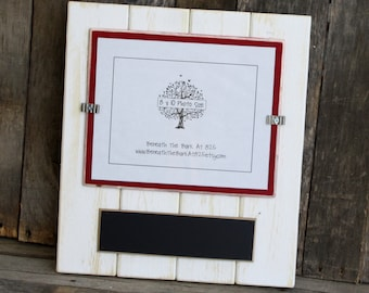 8x10 Picture Frame with Chalkboard - Holds an 8x10 Photo - Distressed Wood - White & Barn Red - Black Chalkboard