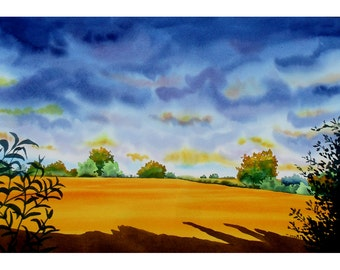 Sunset Original Watercolour Landscape Painting of Suffolk UK